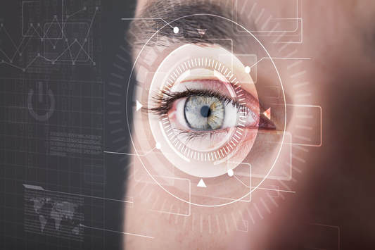 digital eye picture with computer background